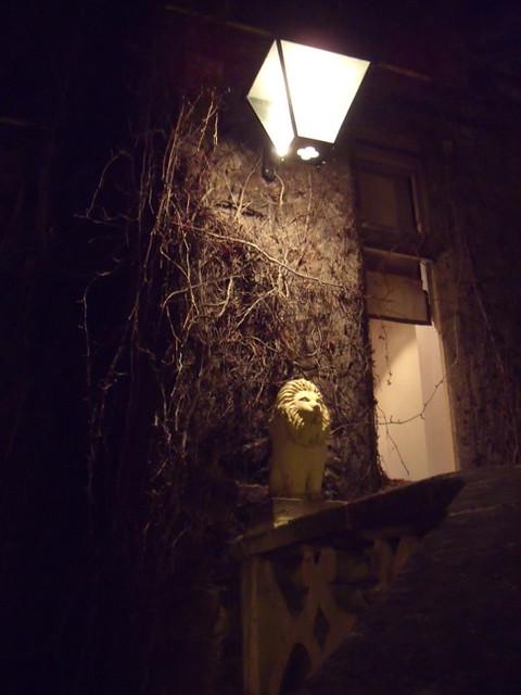 Stone lion under lamp
