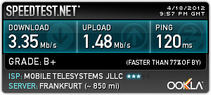 SpeedTest MTS.by Minsk-Frankfurt