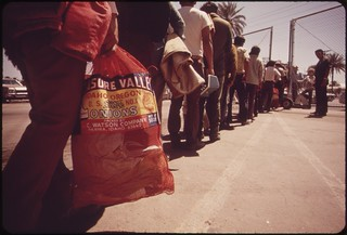 It's back to Mexico for these farm workers who were picked up by the border patrol at Calexico for illegal entry, May 1972