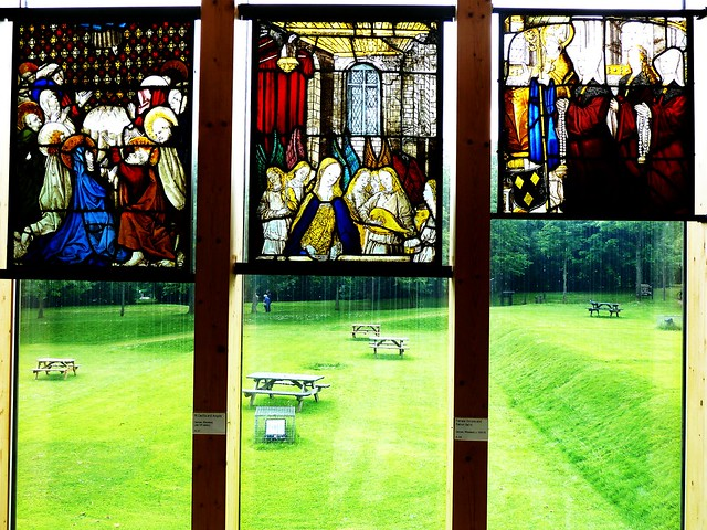 Stained glass from medieval period, Burrell Collection, Glasgow