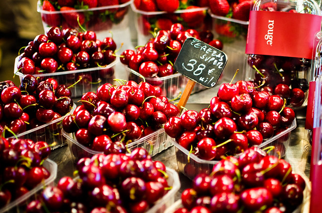 Ruby red cherries at Barcelona's La Boqueria.