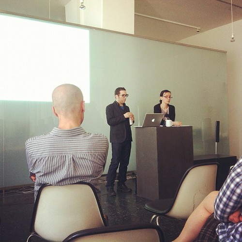 Eric Zimmerman and Nathalie Pozzi presenting at the UdK