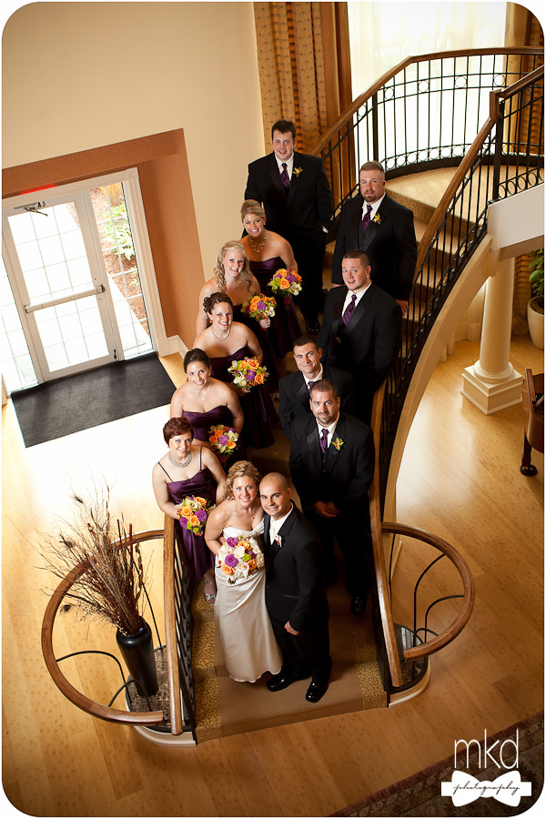 Bridal Party on the Staircase at the Devens Common Center - Devens, MA