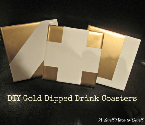 DIY Gold Dipped Drink Coasters