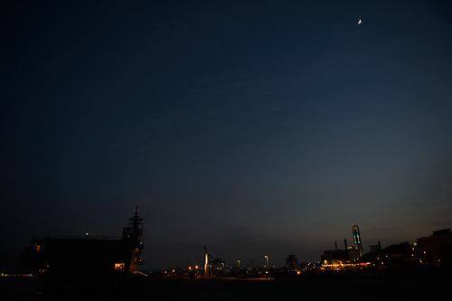 moon japan night landscape nikon nightscape clear 日本 山口県 下関市 海峡ゆめタワー ひゅうが