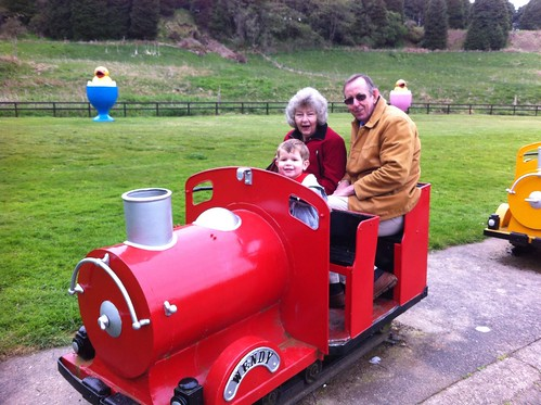 Granny, Grandad and Owen in a train