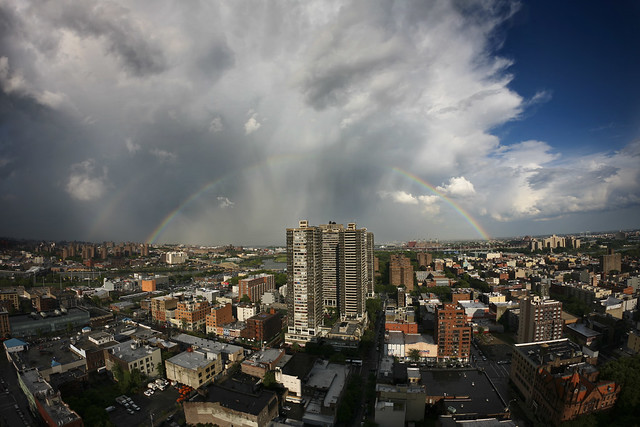 city, rainbow