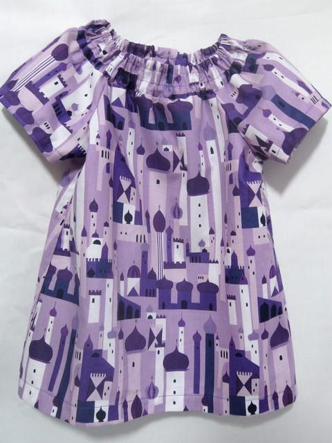 purple cityscape tunic