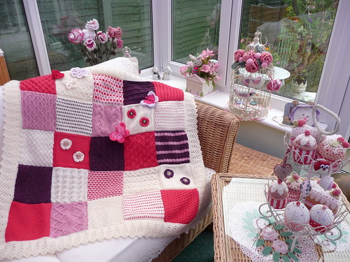 I love the edging. I love the Squares! A pretty Blanket.