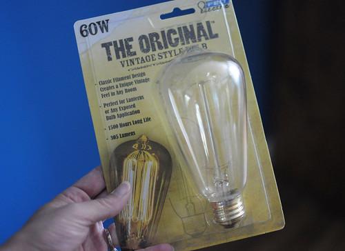 basket lamp, vintage bulb