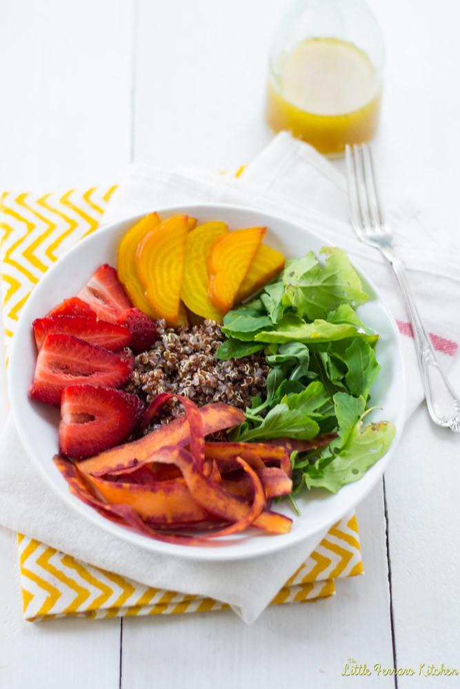 Rainbow Quinoa Salad with Honey Citrus Vinaigrette via LittleFerraroKitchen.com