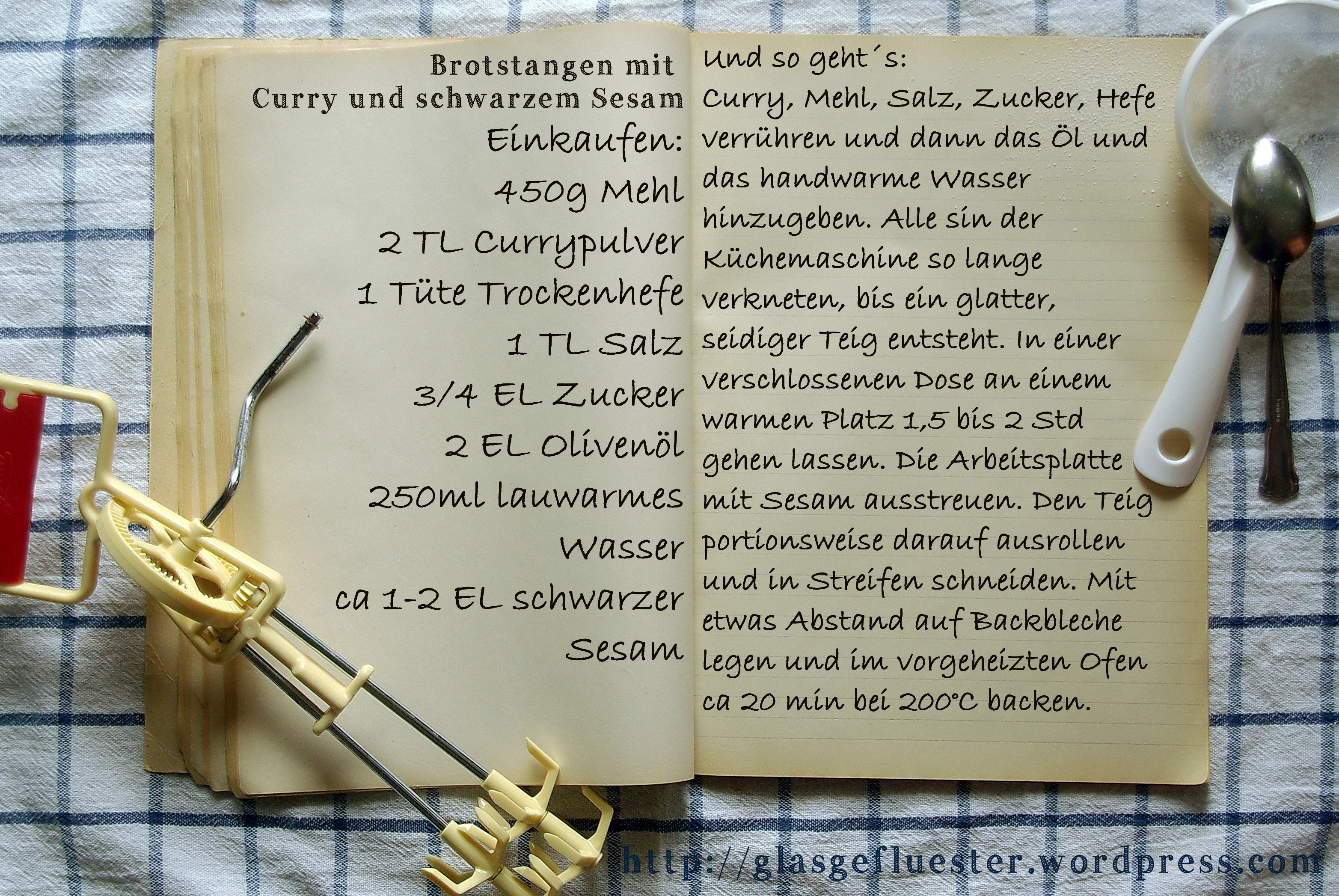 Einkaufszettel Curry Brotstangen by Glasgefluester
