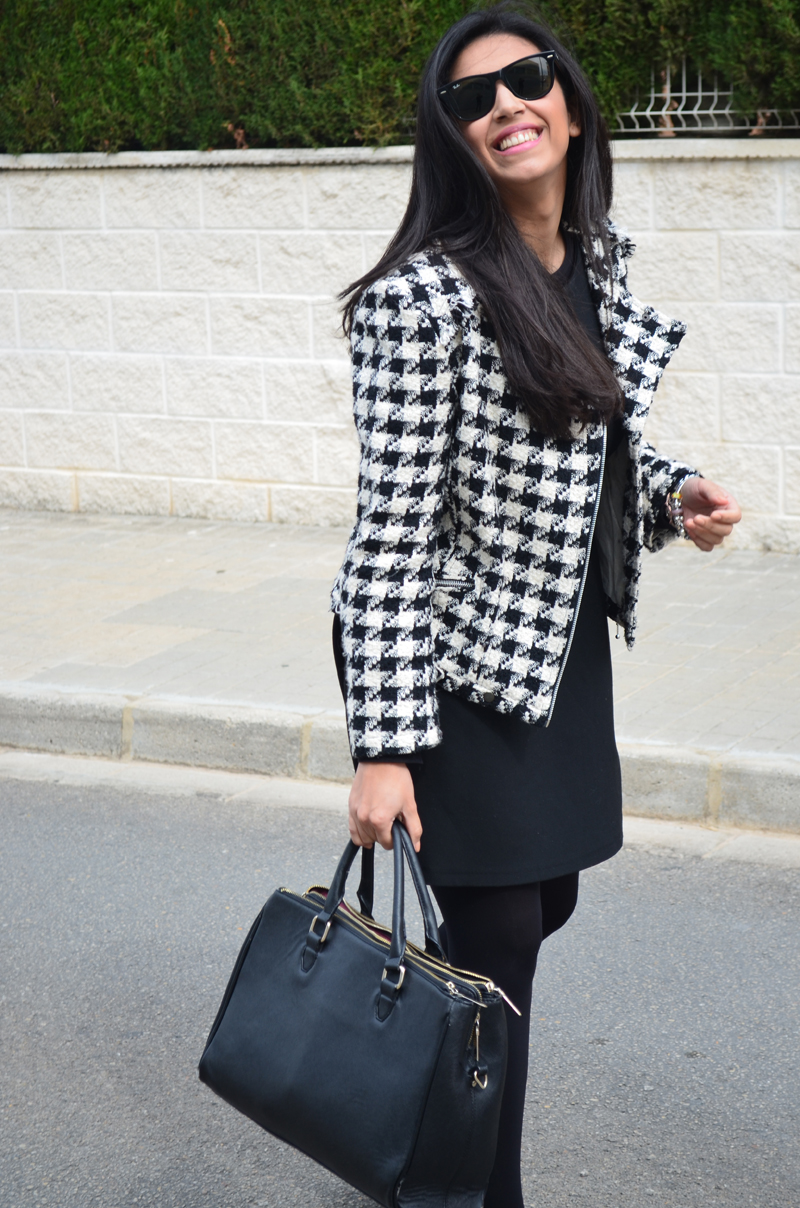 florenciablog tweedjacket estampado pata de gallo little black dress LBD mocasines zara (5)