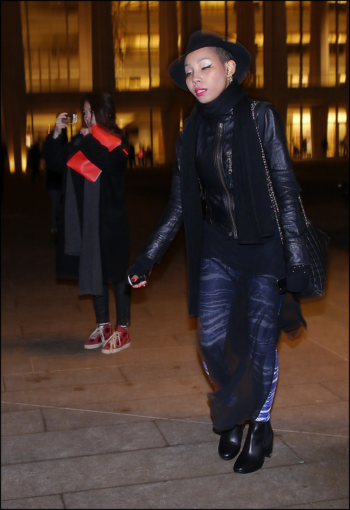 6c8ff9fe w black leather coat black chimera skirt over print leggings black chanel  bag black hat ol