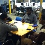 Mason, Jeremiah, and  Malaino playing Yugioh
