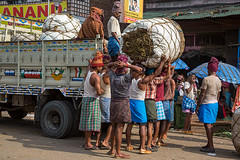 Pure muscle at the wholesale market in Kolkata, India.