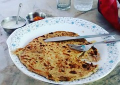 My yummyly stuffed aalu paratha at Laboos cafe ... Wonders of some shade in a hot afternoon#bliss #lunch #mp #laboo #cafe #summers #mytravelgram #indiapictures #travelrealindia #myinstapit