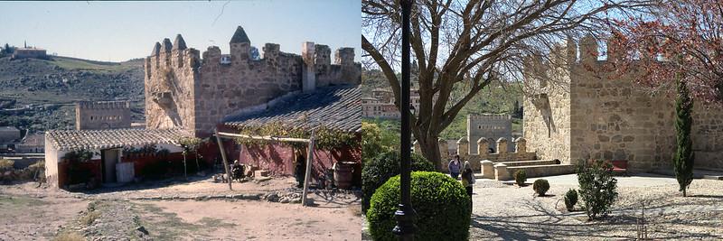 Murallas del torreón interior del Puente de San Martín en noviembre de 1961 y en abril de 2016 fotografiada por Piet Welling y Lieke Welling (1961) y Hans Welling (2016)