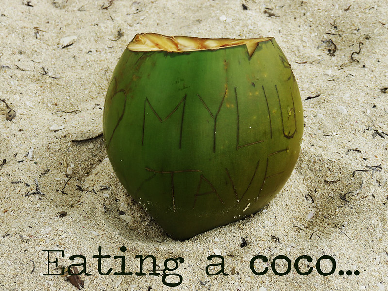 Eating a coco