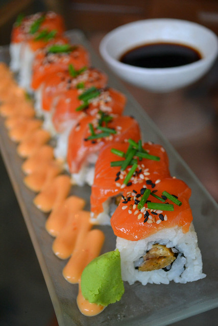 Salmon Roll with Crispy Chicken Skin
