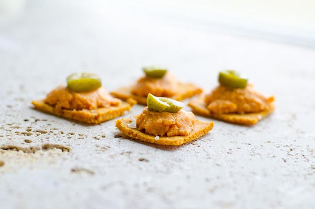 Gluten Free Crackers with Roasted Red Pepper Hummus by Mary Banducci 4