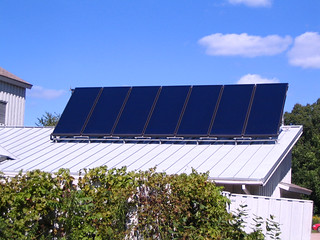 7 solar hot water collectors on Dining Hall