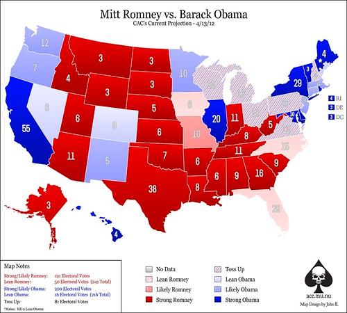 Electoral Map (Obama-Romney) - 3/13/13