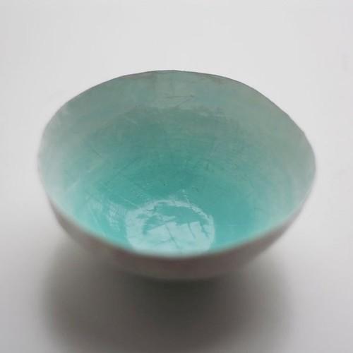 aqua paper mache bowl