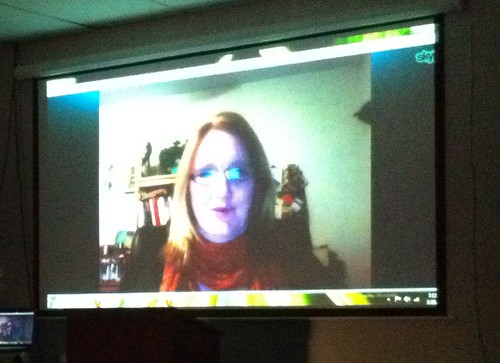 Lisa Sabin-Wilson presenting to our OKC WordPress User's Group over Skype