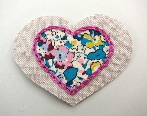 Chain stitch round the heart