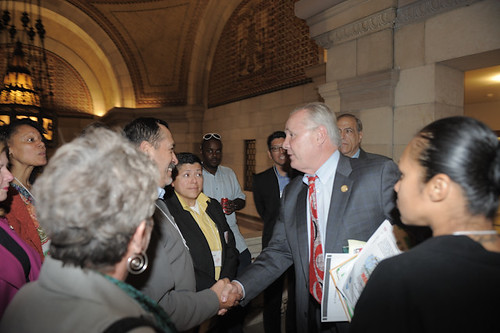 Councilman LaBonge greets advocates
