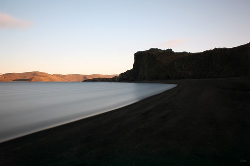 Lake Kleifarvatn right before sunset