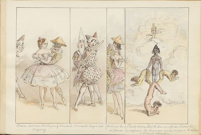 Pantomime as it was is and will be by Alfred Crowquill (aka Alfred H Forrester) - 1849 - (Clown catches Harlequin and Columbine...) - courtesy Harvard U