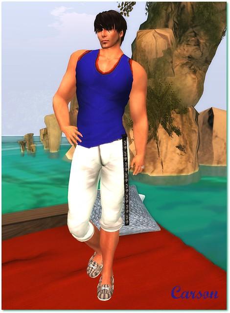 SHIKI-Blue Tanktop-White Shorts