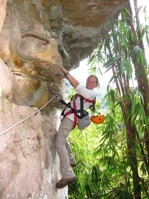 Claudia on the Via Ferrata (Oops, Forgot to Wear a Helmet!)