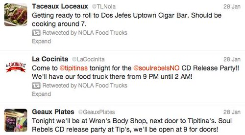 NOLA Food Trucks' twitter feed