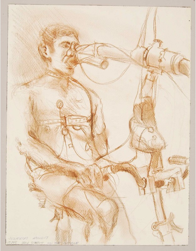 sketch of astronaut-in-training on bicycle with breathing analyser