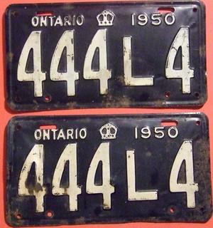 ONTARIO 1950 ---LICENSE PLATE PAIR #444L4