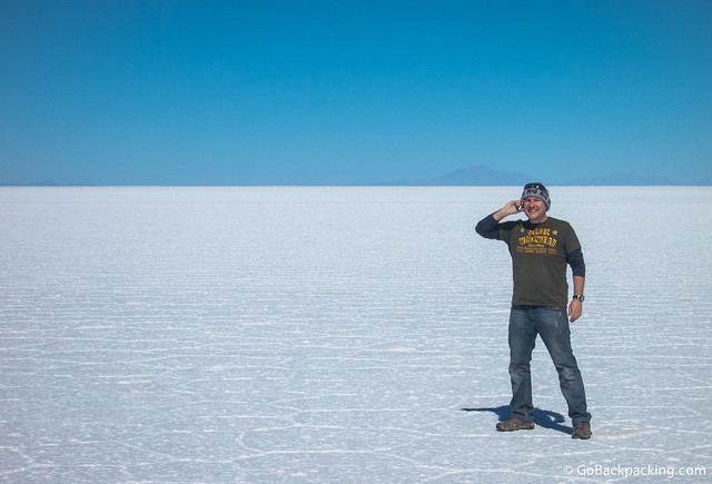 Taking calls on the world's largest salt flats