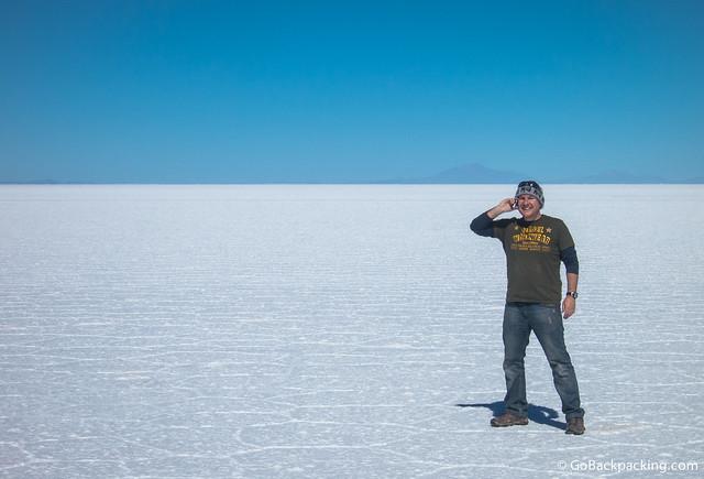 Taking calls on the world's largest salt flats