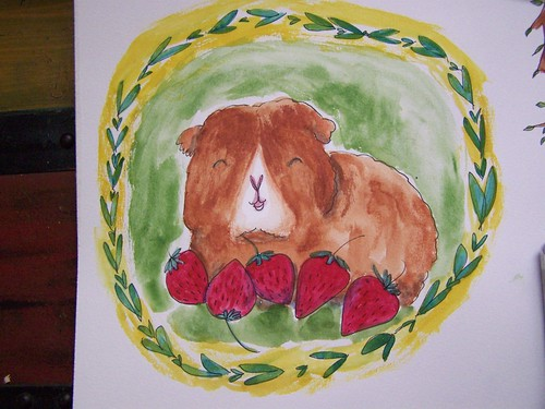guinea pig with strawberries by Emilyannamarie