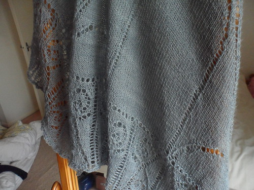 Silver grey alpaca cashmere silk lace shawl Juno Fibre Arts