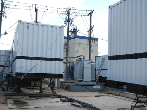 Diesel generators at BEL plant on Caye Caulker