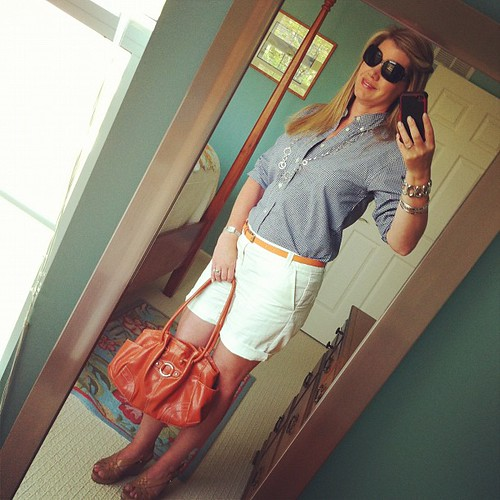 Thursday's ootd: Boyfriend roll-up shorts, GAP.  Shirt, Polo.  Belt, J. Crew. Sandals, Guess.  Bracelets, CC.