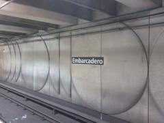 New station name signs at Embarcadero BART
