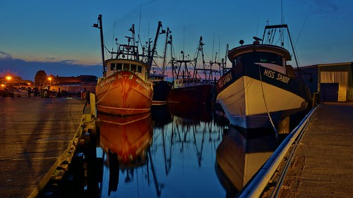 Gloucester At Dawn- 4:30AM 5/27/12 Dragger Fleet At Felicia Oil- Color by captjoe06