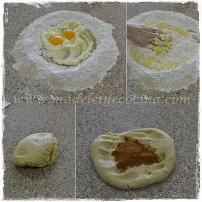 Integrando huevos, polvos y canela