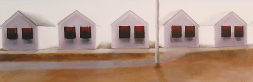 "Stephen Coyle, Red Shutters, alkyd on panel, 12"" x 36"""