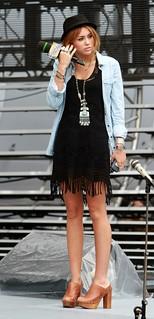 Miley Cyrus Denim Shirt Celebrity Style Woman's Fashion