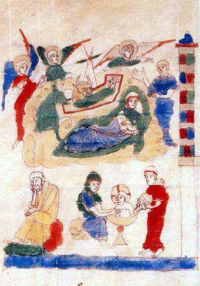 Ripoll Bible, Nativity with Jesus' first bath, Catalonia